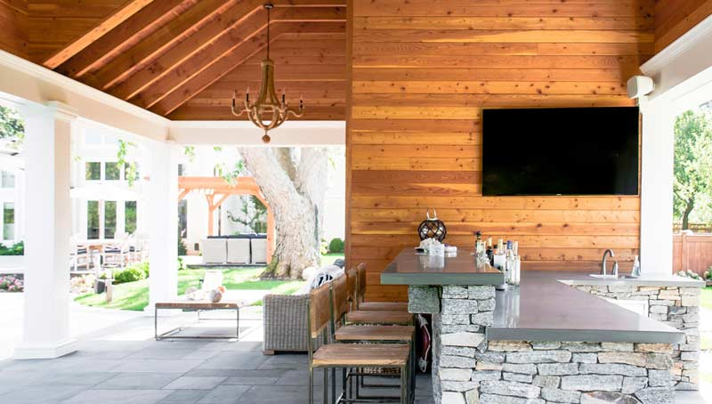 Wood Clad Outdoor Bar Architecture Long Island