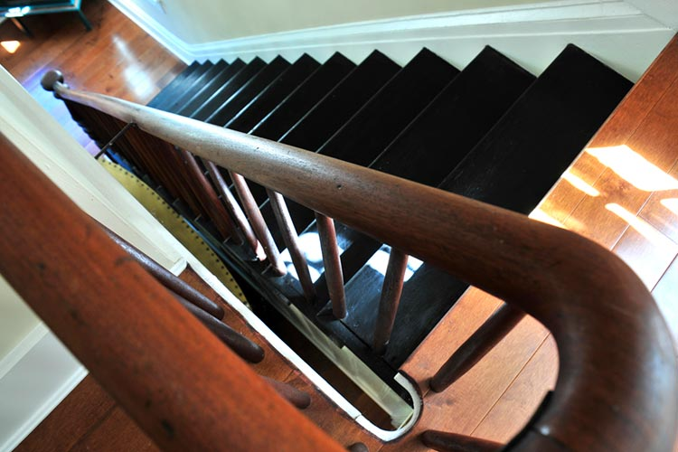 Historic Home Stair Railing Woodwork Detail